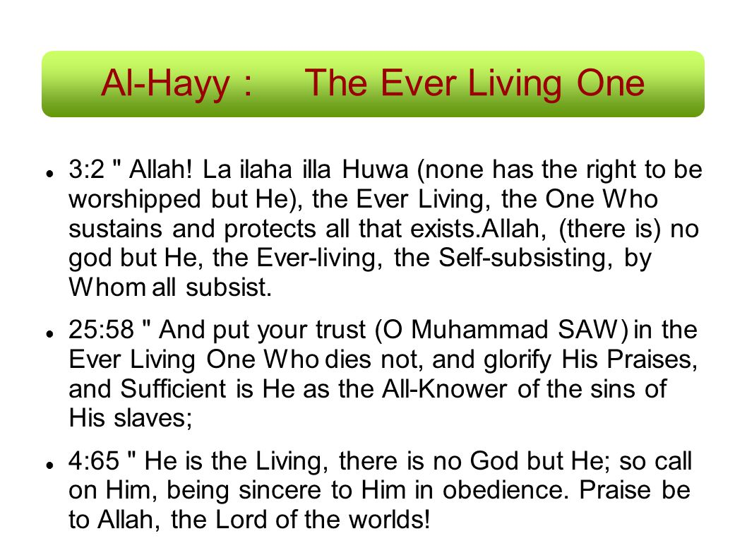 Al-Hayy : The Ever Living One