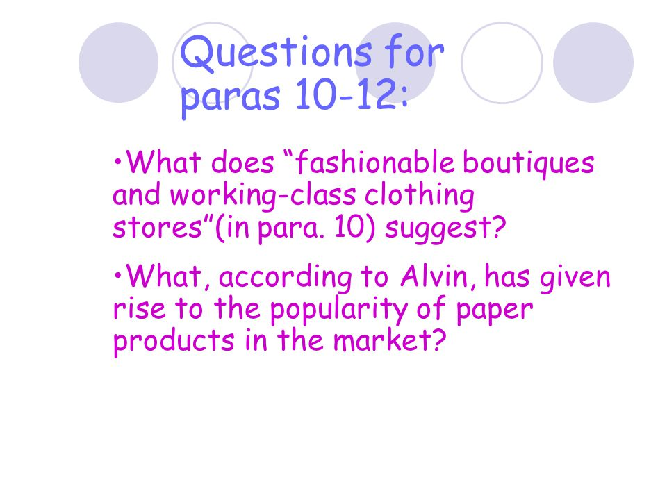 Questions for paras 10-12: What does fashionable boutiques and working-class clothing stores (in para. 10) suggest
