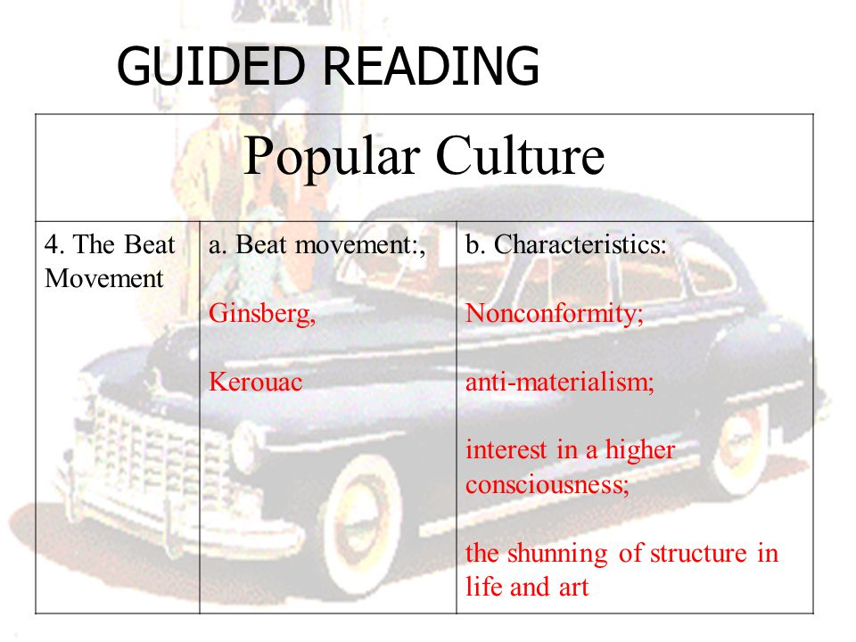Popular Culture GUIDED READING 4. The Beat Movement a. Beat movement:,