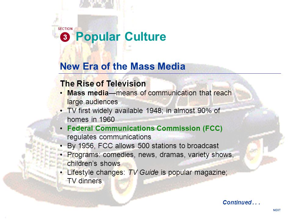 Popular Culture New Era of the Mass Media The Rise of Television 3
