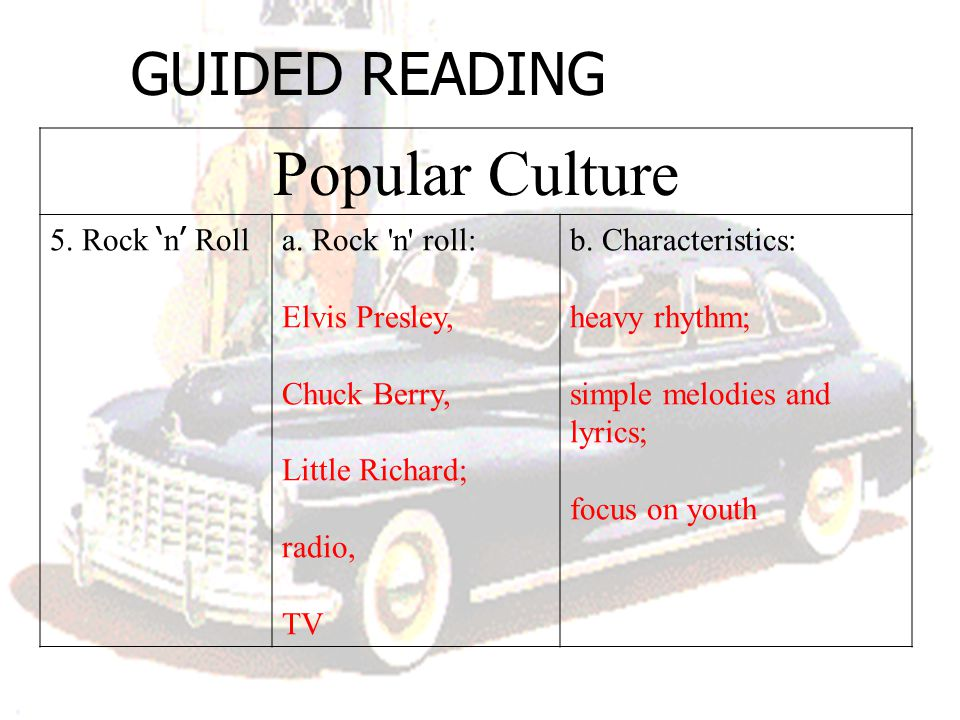 Popular Culture GUIDED READING 5. Rock 'n' Roll a. Rock n roll: