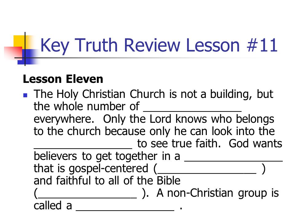 Key Truth Review Lesson #11