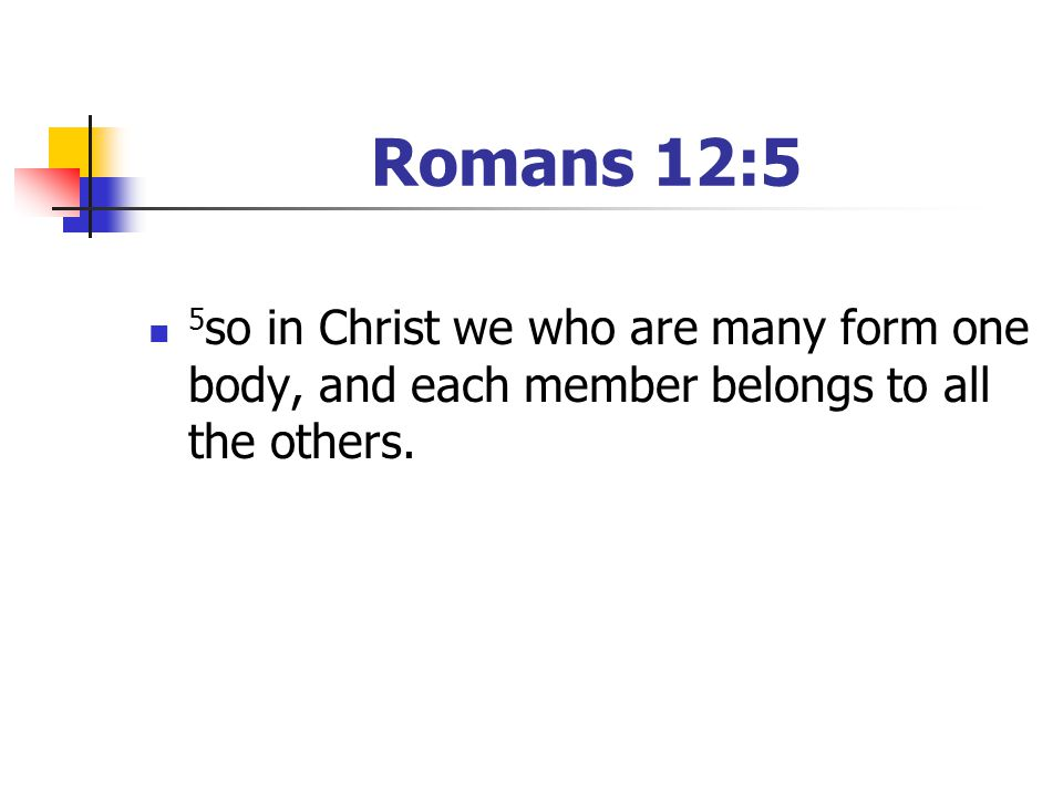 Romans 12:5 5so in Christ we who are many form one body, and each member belongs to all the others.