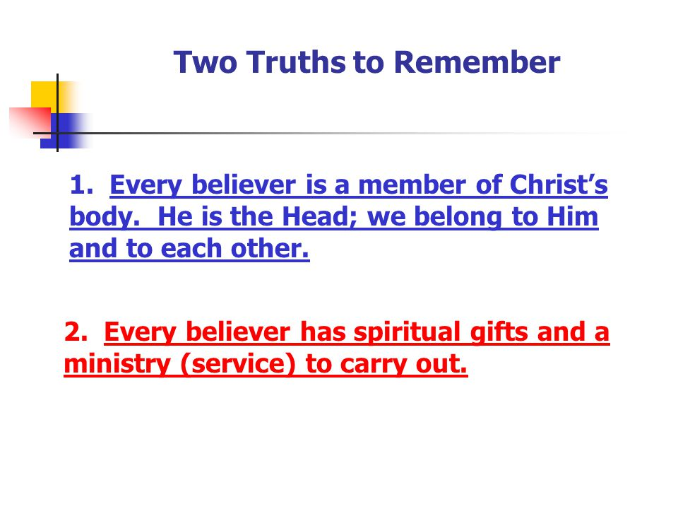 Two Truths to Remember 1. Every believer is a member of Christ's body. He is the Head; we belong to Him and to each other.