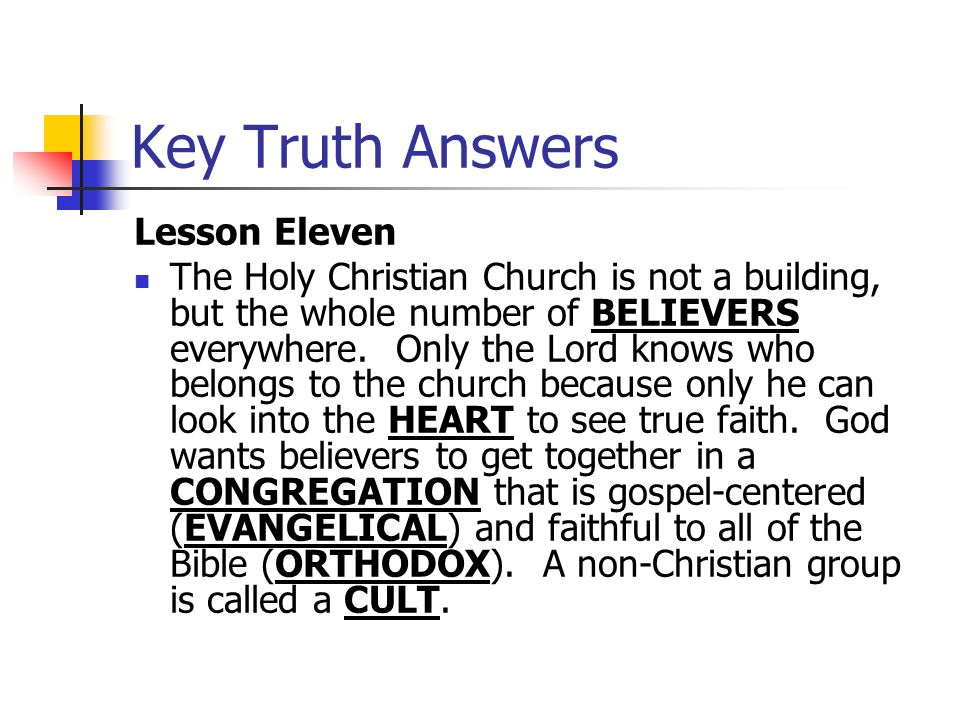 Key Truth Answers Lesson Eleven
