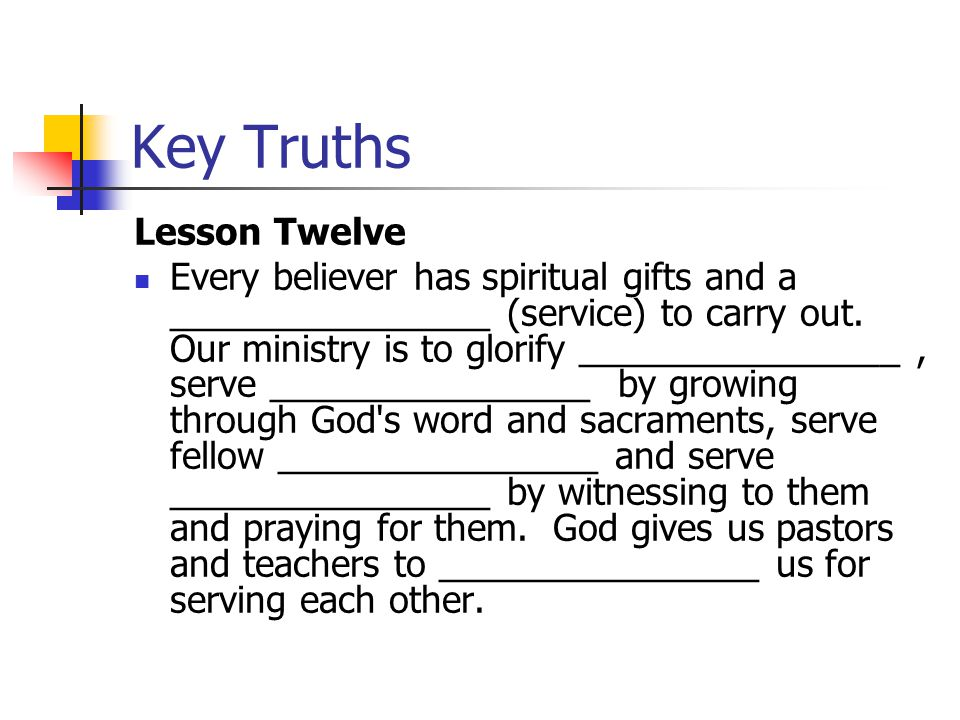 Key Truths Lesson Twelve