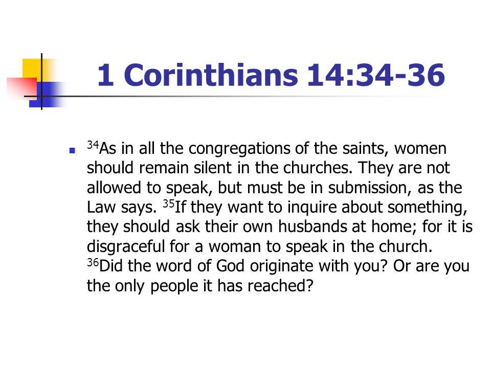 1 Corinthians 14:34-36