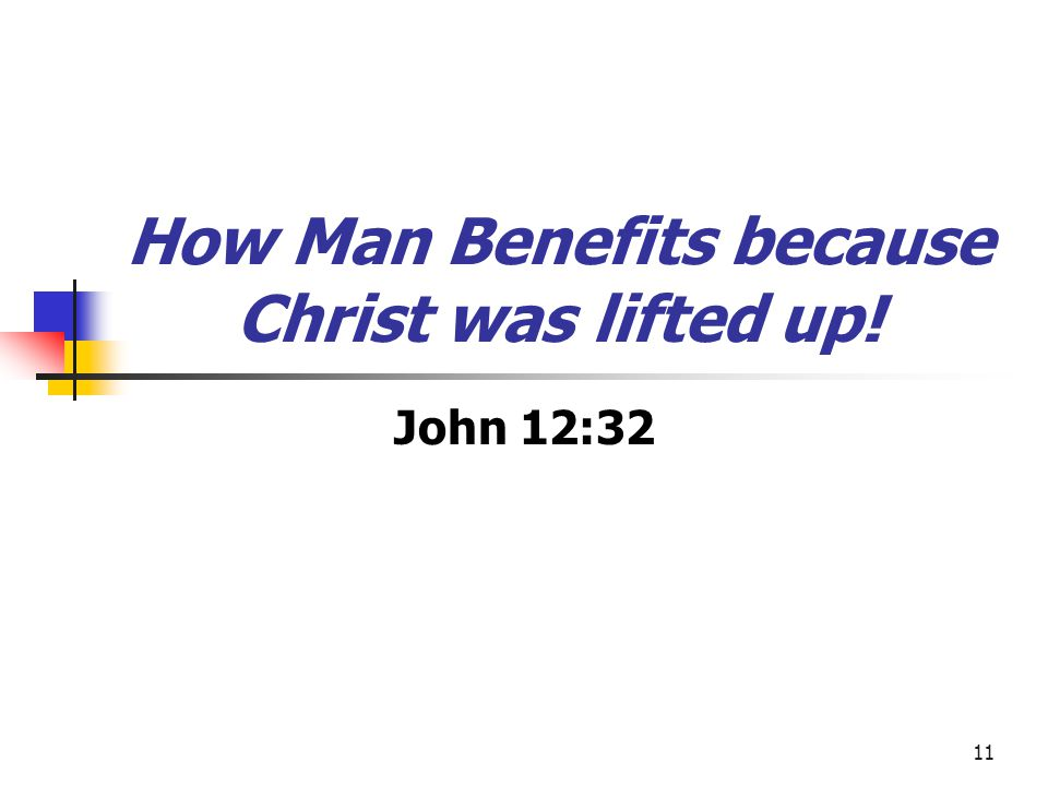 How Man Benefits because Christ was lifted up!
