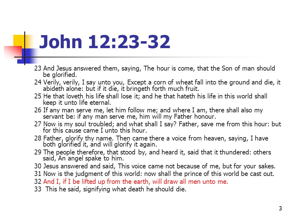 John 12:23-32 23 And Jesus answered them, saying, The hour is come, that the Son of man should be glorified.
