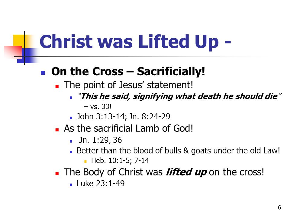 Christ was Lifted Up - On the Cross – Sacrificially!