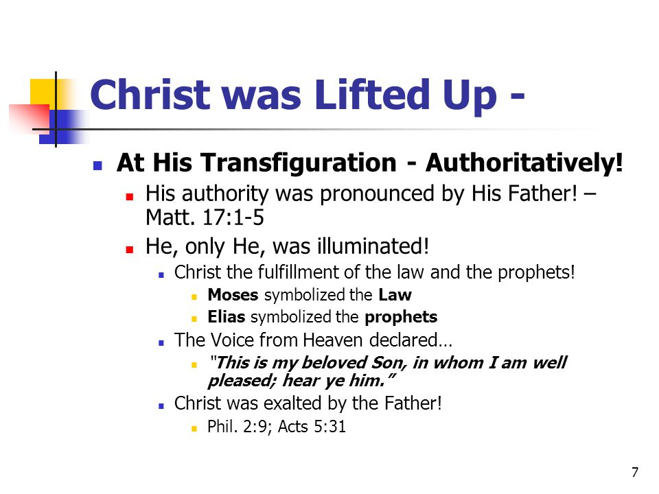 Christ was Lifted Up - At His Transfiguration - Authoritatively!
