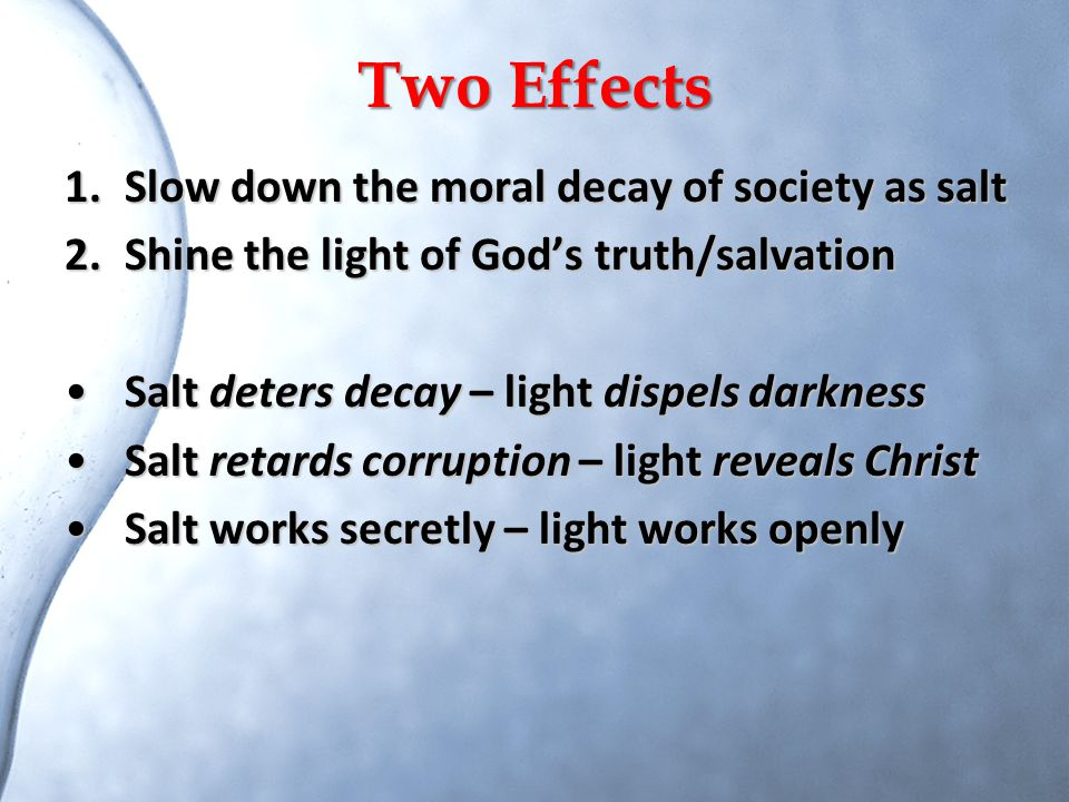 Two Effects Slow down the moral decay of society as salt
