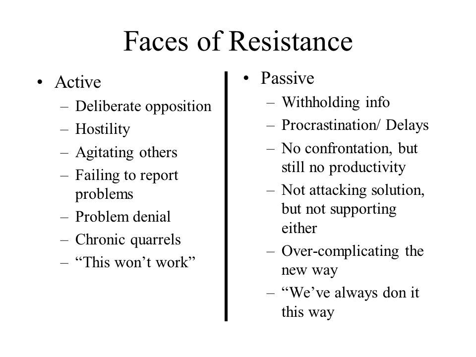 Faces of Resistance Passive Active Withholding info