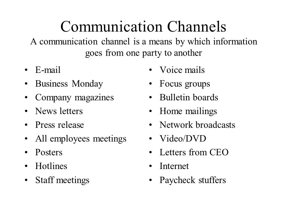 Communication Channels A communication channel is a means by which information goes from one party to another