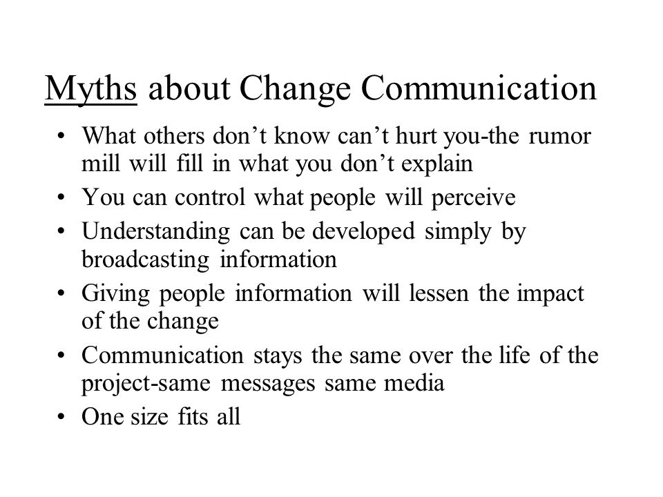 Myths about Change Communication