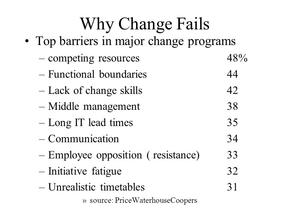 Why Change Fails Top barriers in major change programs