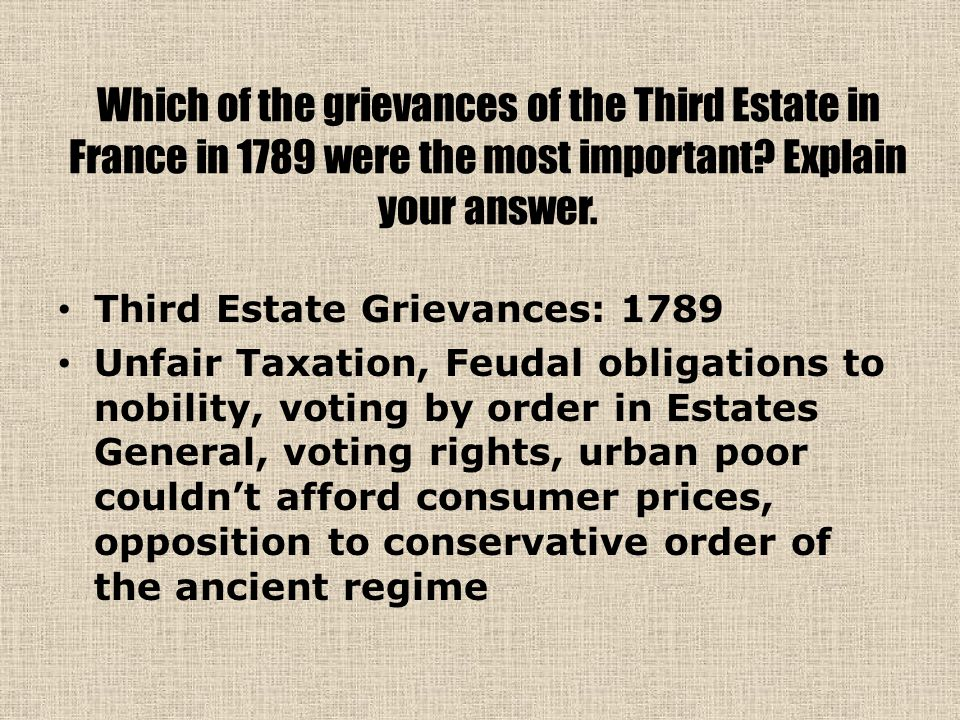 Which of the grievances of the Third Estate in France in 1789 were the most important Explain your answer.