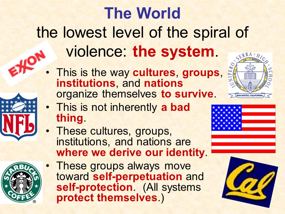 The World the lowest level of the spiral of violence: the system.