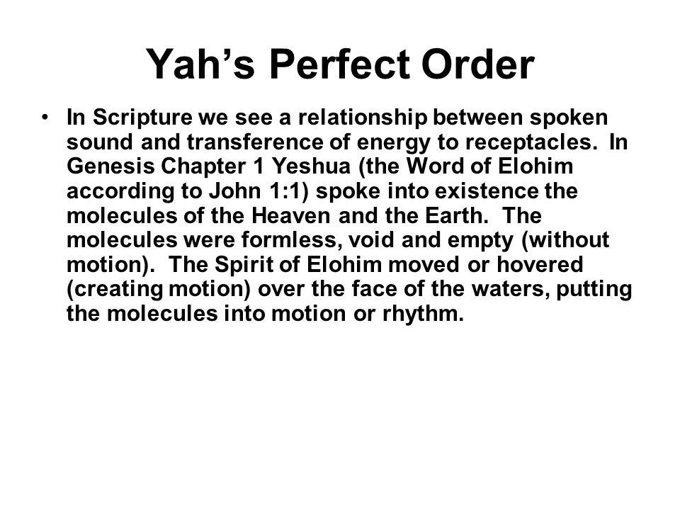 Yah's Perfect Order