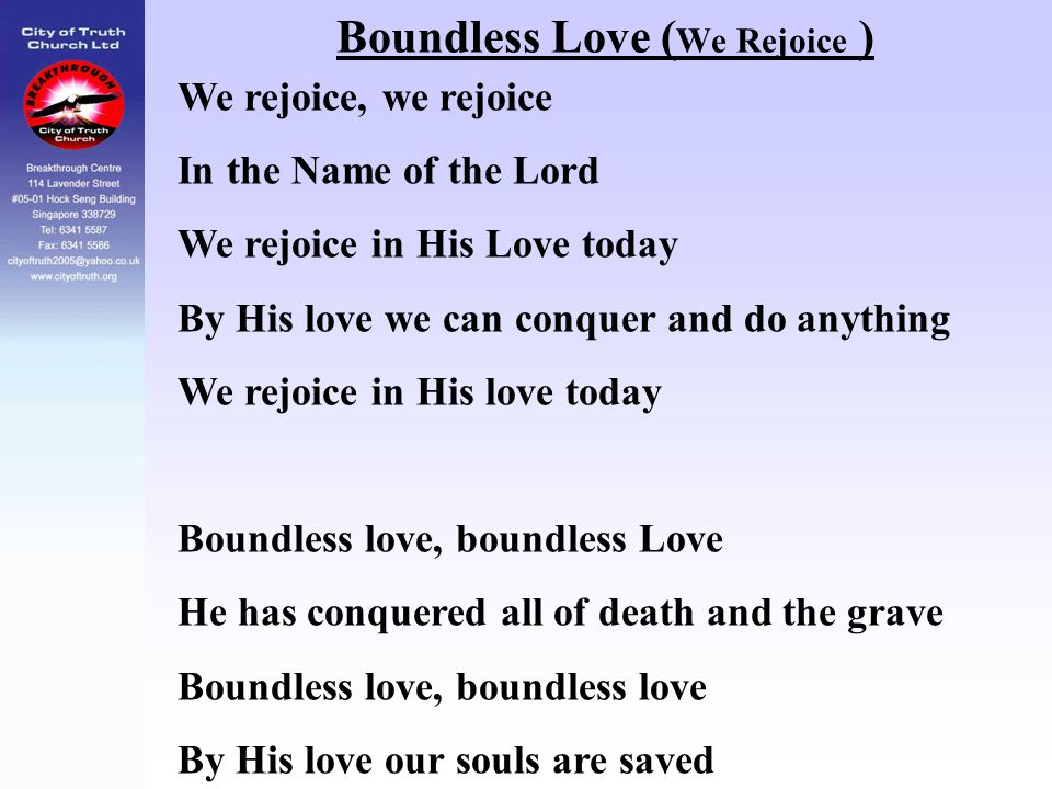 Boundless Love (We Rejoice )