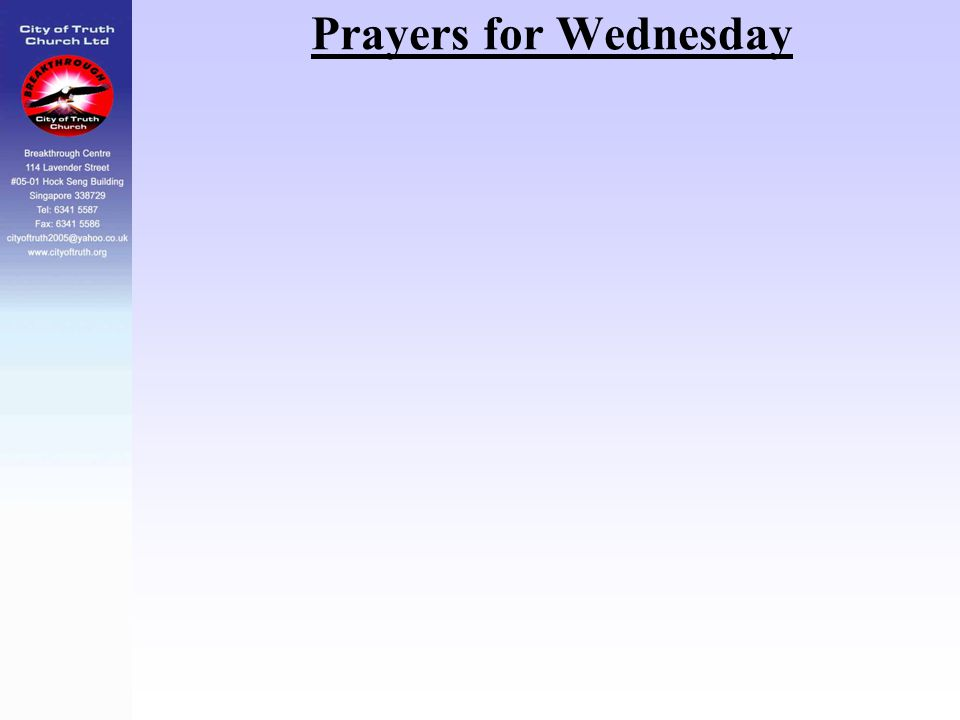 Prayers for Wednesday