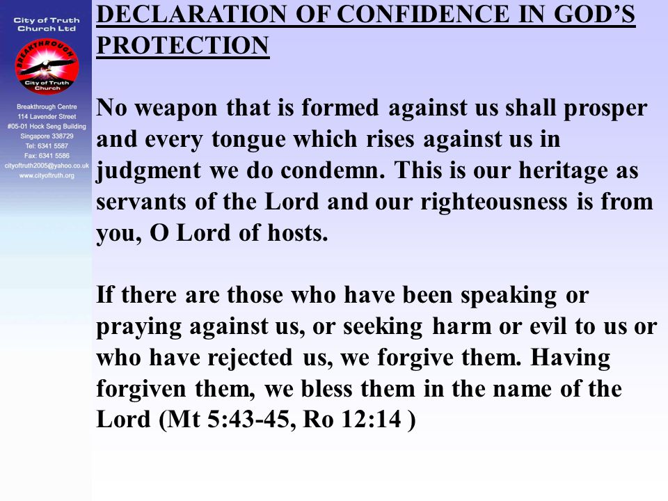 DECLARATION OF CONFIDENCE IN GOD'S PROTECTION