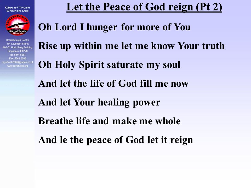 Let the Peace of God reign (Pt 2)
