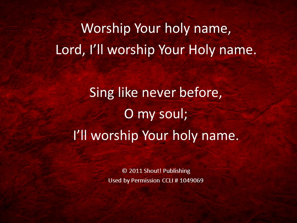 Lord, I'll worship Your Holy name. Sing like never before, O my soul;