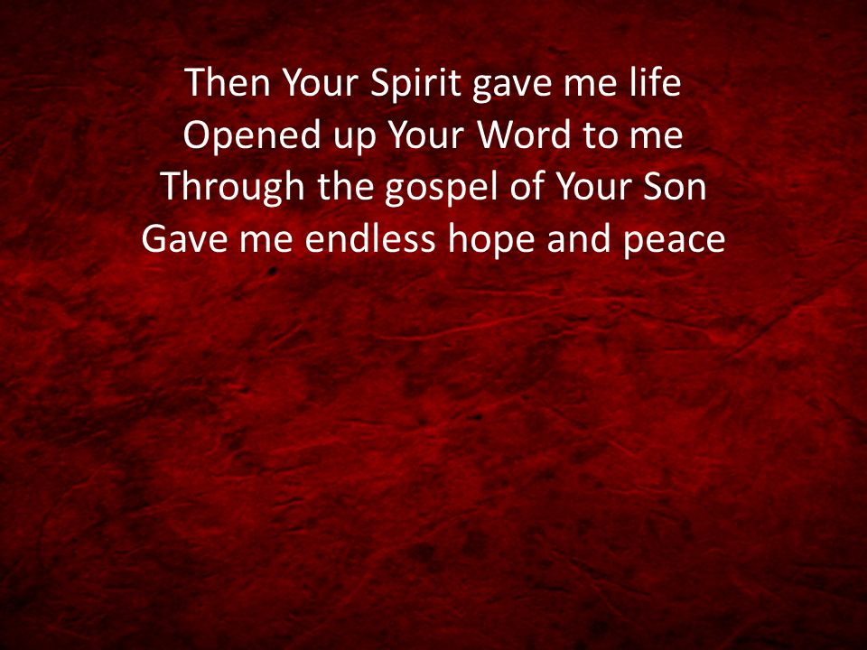 Then Your Spirit gave me life Opened up Your Word to me Through the gospel of Your Son Gave me endless hope and peace