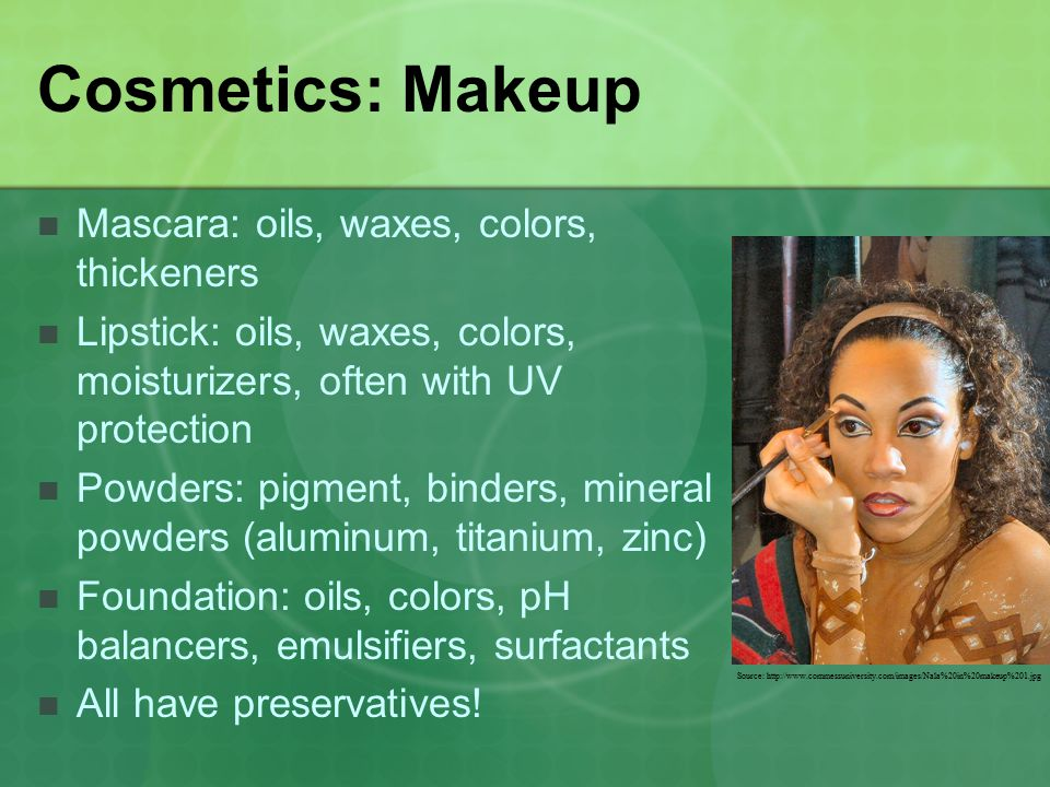 Cosmetics: Makeup Mascara: oils, waxes, colors, thickeners