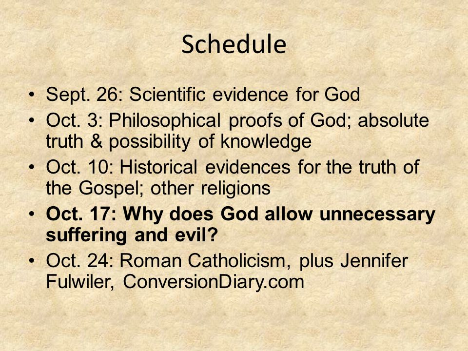 Schedule Sept. 26: Scientific evidence for God