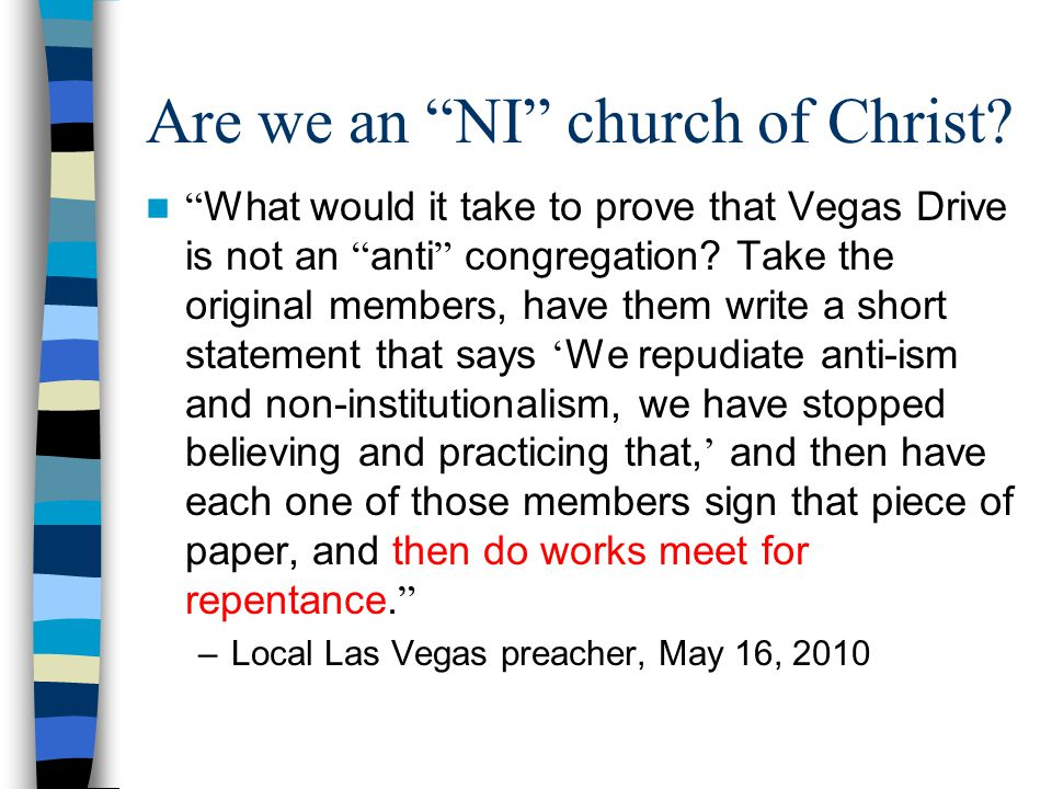 Are we an NI church of Christ