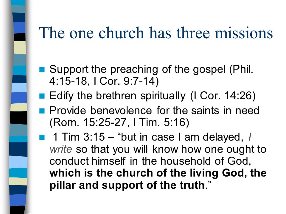 The one church has three missions