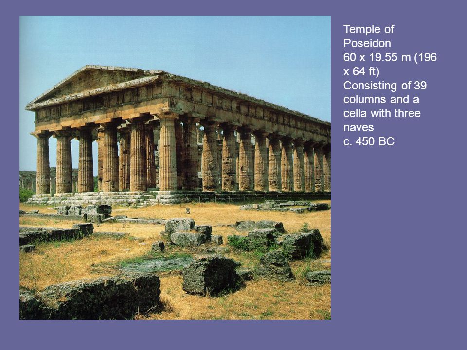 Temple of Poseidon 60 x 19.55 m (196 x 64 ft) Consisting of 39 columns and a cella with three naves c.