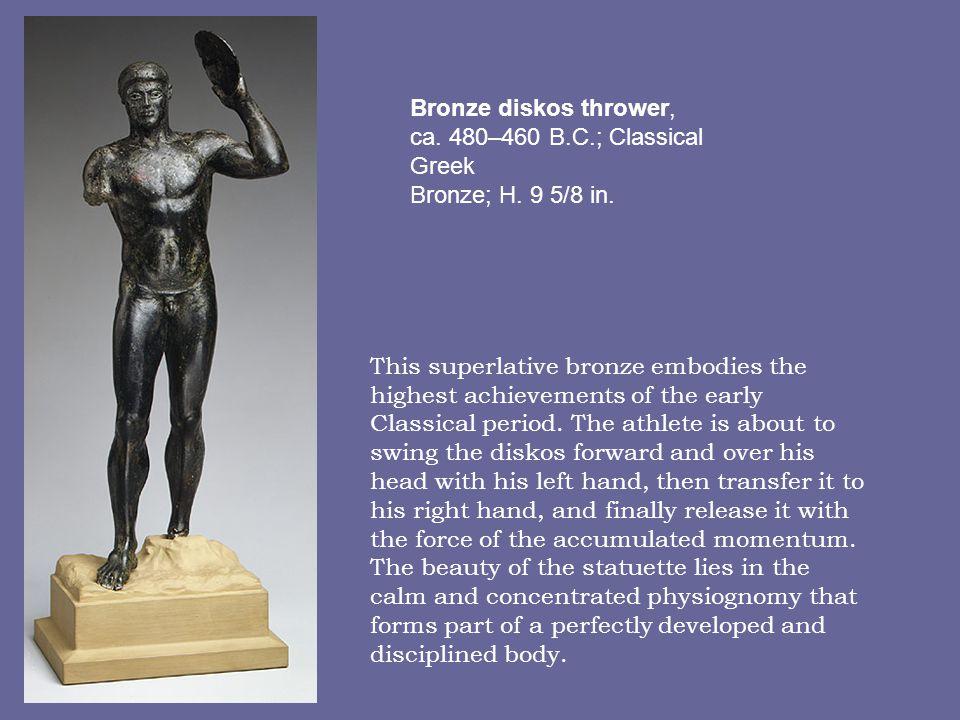 Bronze diskos thrower, ca. 480–460 B.C.; Classical Greek Bronze; H. 9 5/8 in.