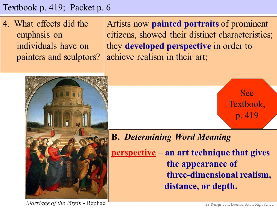 B. Determining Word Meaning perspective – an art technique that gives