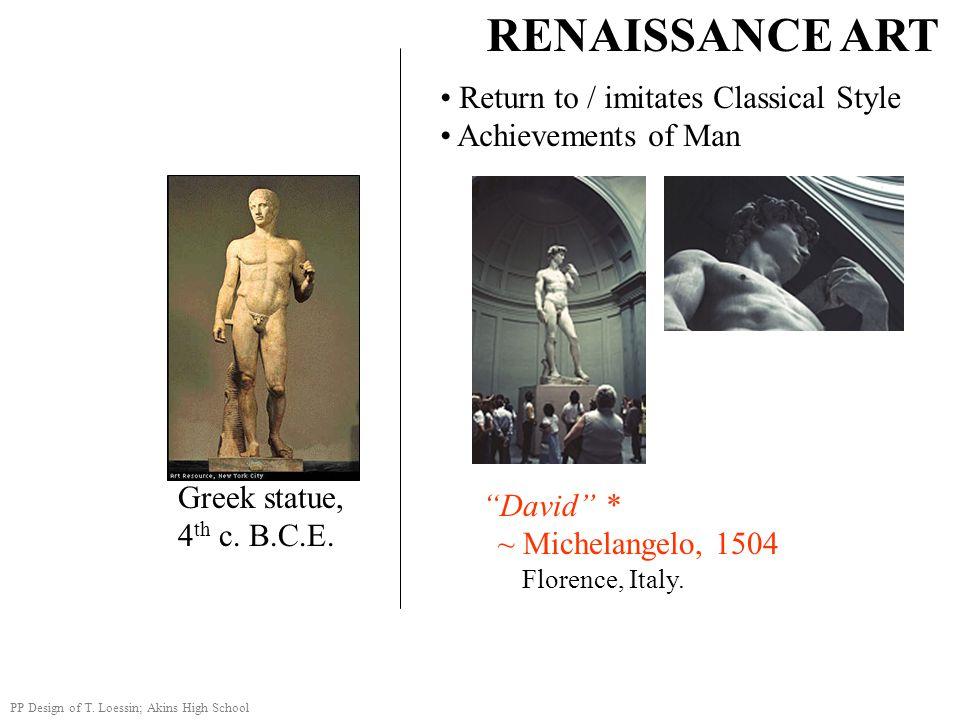 RENAISSANCE ART Return to / imitates Classical Style