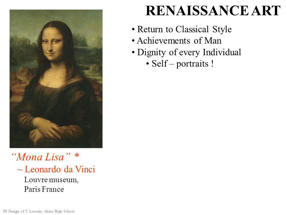 RENAISSANCE ART Mona Lisa * Return to Classical Style