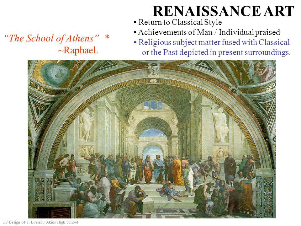 RENAISSANCE ART The School of Athens * ~Raphael.