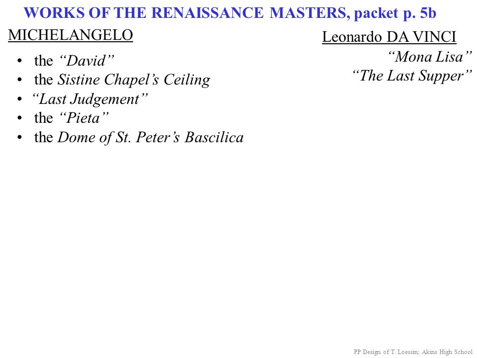 WORKS OF THE RENAISSANCE MASTERS, packet p. 5b