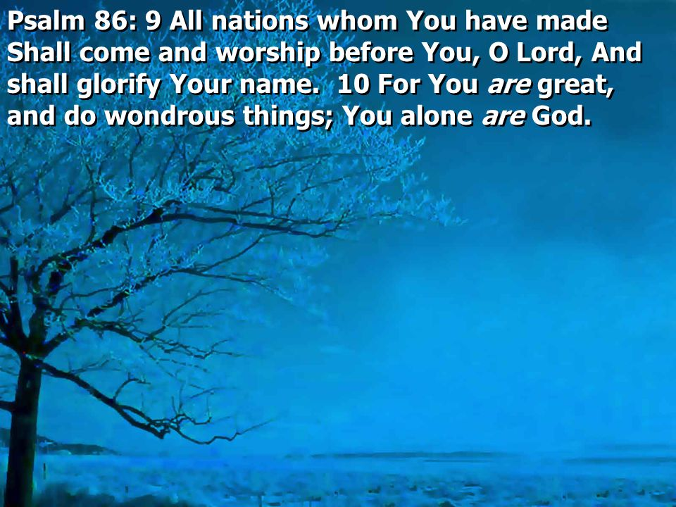 Psalm 86: 9 All nations whom You have made Shall come and worship before You, O Lord, And shall glorify Your name.