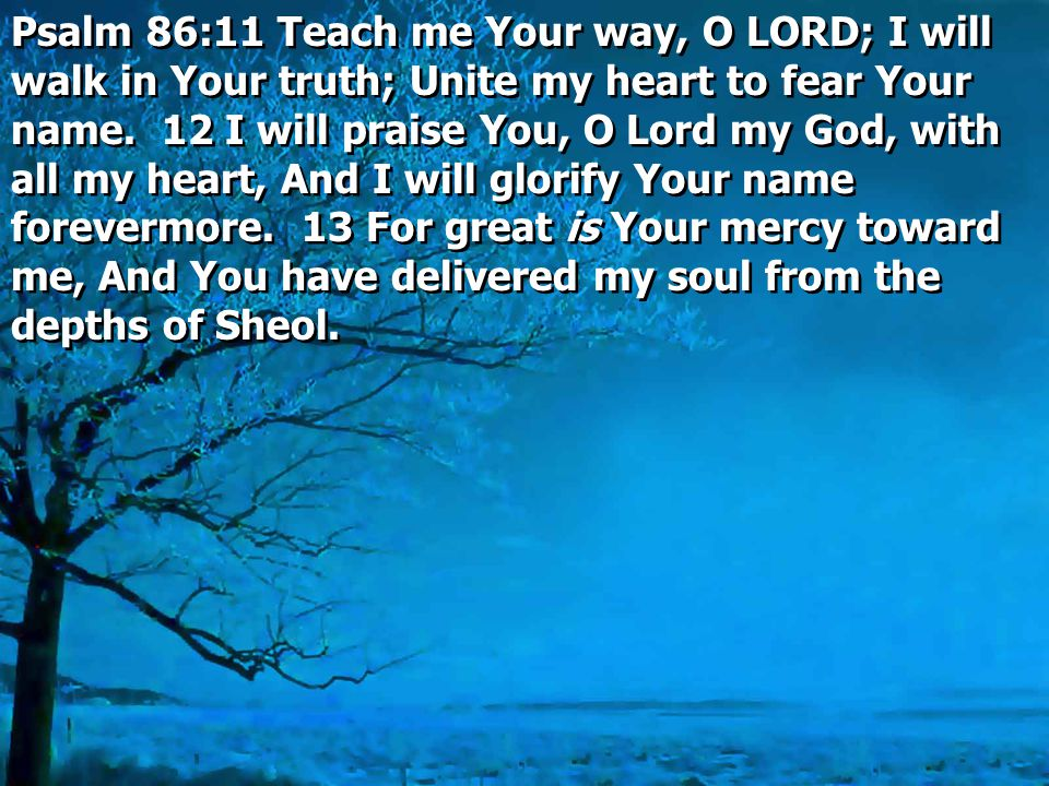 Psalm 86:11 Teach me Your way, O LORD; I will walk in Your truth; Unite my heart to fear Your name.