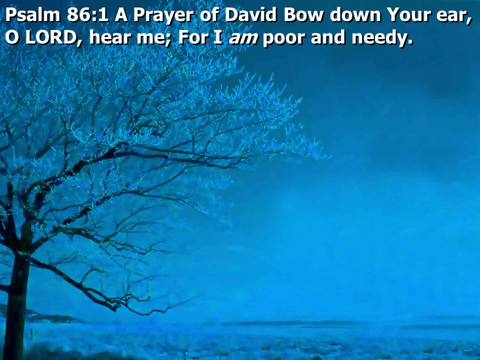 Psalm 86:1 A Prayer of David Bow down Your ear, O LORD, hear me; For I am poor and needy.