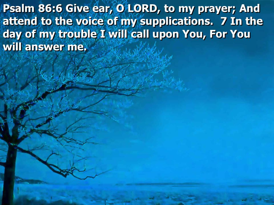 Psalm 86:6 Give ear, O LORD, to my prayer; And attend to the voice of my supplications.