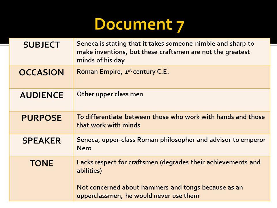 Document 7 SUBJECT OCCASION AUDIENCE PURPOSE SPEAKER TONE