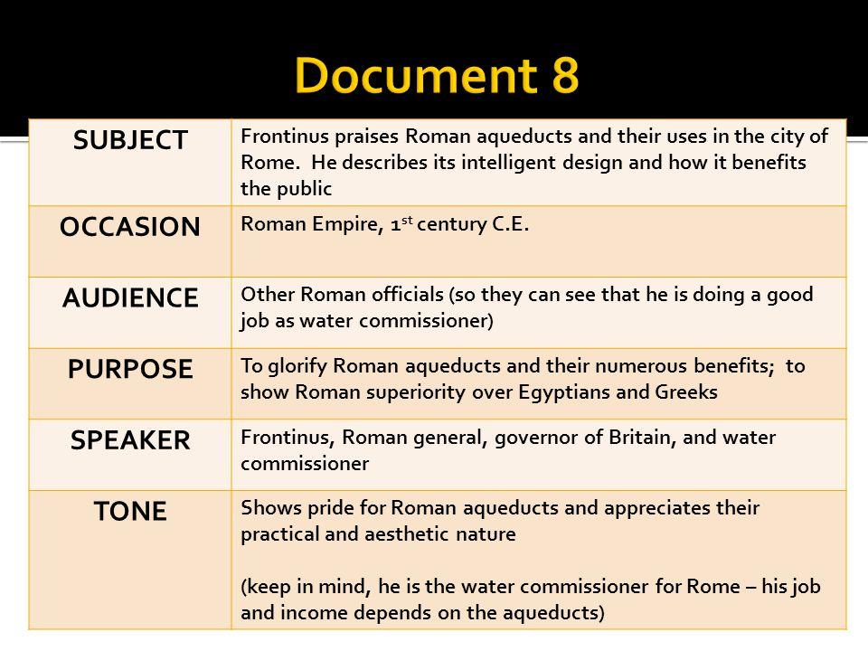 Document 8 SUBJECT OCCASION AUDIENCE PURPOSE SPEAKER TONE