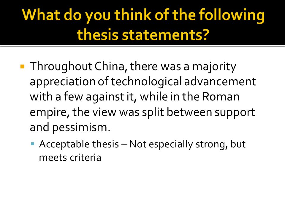 What do you think of the following thesis statements