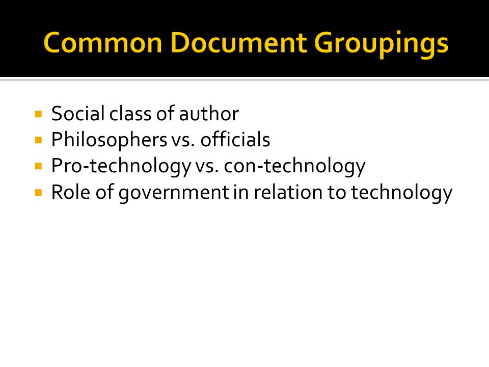 Common Document Groupings