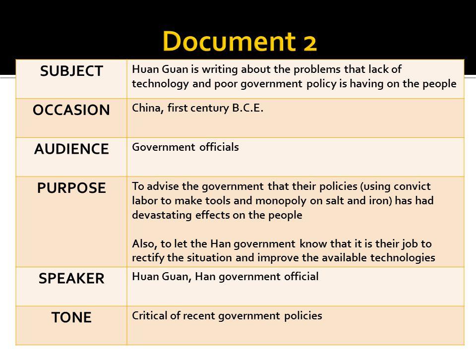 Document 2 SUBJECT OCCASION AUDIENCE PURPOSE SPEAKER TONE