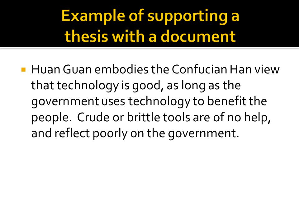 Example of supporting a thesis with a document